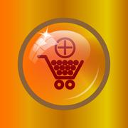 Add to shopping cart icon. Internet button on colored background. . Stock Illustration