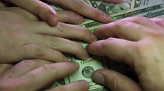 Crazy Businessmen Divide The Money On The Table In Office Stock Footage