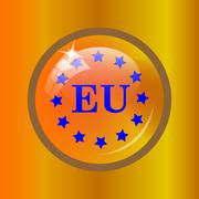 European union icon. Internet button on colored background. . Stock Illustration