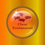 Client testimonials icon. Internet button on colored background. . Stock Illustration