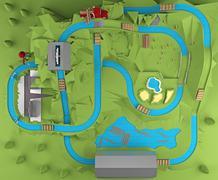 Amusement park top view. 3d rendering Stock Illustration