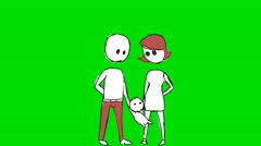 Parents Swinging Baby Red - Animation - Hand-Drawn - Green Screen - Loop Stock Footage