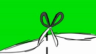 Scissors Cutting Paper Vertical- Animation - Hand-Drawn - Green Screen - Loop Stock Footage