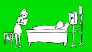 Nurse  Patient - Animation - Hand-Drawn - Green Screen - Loop Stock Footage