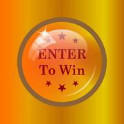 Enter to win icon. Internet button on colored background. . Stock Illustration