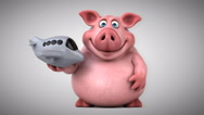 Fun pig - 3D Animation, plane Stock Footage