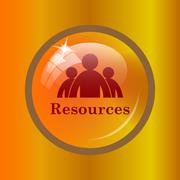 Resources icon. Internet button on colored background. . Stock Illustration