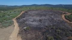 Firebreak around burnt area, flying camera Stock Footage