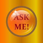 Ask me icon. Internet button on colored background. . Stock Illustration