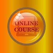 Online course icon. Internet button on colored background. . Stock Illustration