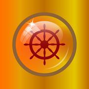 Nautical wheel icon. Internet button on colored background. . Stock Illustration