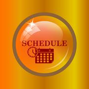 Schedule icon. Internet button on colored background. . Stock Illustration