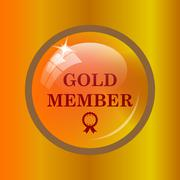 Gold member icon. Internet button on colored background. . Stock Illustration