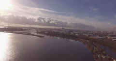 Factory aerial shot with a drone in Amsterdam with Skyline Stock Footage