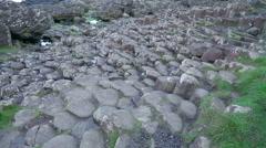 Big basalt rocks found in the Giants Causeway Stock Footage