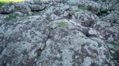 The basalt rocks in Giants Causeway Stock Footage