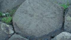 Big portion of the basalt rocks in Giants Causeway Stock Footage
