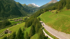 Picturesque village of Heiligenblut in the Alps, aerial footage Stock Footage