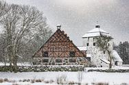 Hovdala Castle Gatehouse and Stables in Winter Stock Photos