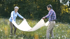 Seniors in nature spreading blanket for picnic Stock Footage