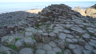 The basalt rock columns in the Giants Causeway Stock Footage
