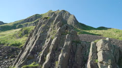 The big rock formation in Giants Causeway Stock Footage