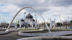 Dataran Alor Setar Square With Zahir Mosque and the Gate Stock Footage