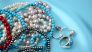 Beads from pearls Stock Footage