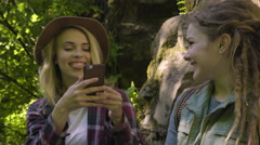 Happy Hiker Takes A Photo Of Her Friend And Shows Her Stock Footage
