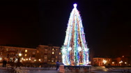 Christmas fir-tree in the city, Time lapse Stock Footage
