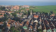 Aerial with traditional houses in village,Marken,Netherlands Stock Footage