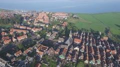 Aerial traditional village with church,Marken,Netherlands Stock Footage