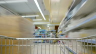 The cart in a supermarket. Stock Footage
