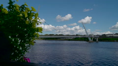 View of the Peace Bridge found in the city of Londonderry Stock Footage