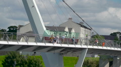 The big Peace Bridge in the Londonderry city Stock Footage