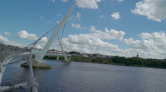 Landscape view of the Peace Bridge Stock Footage