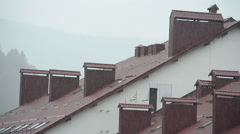 Hotel in mountains, a rain Stock Footage