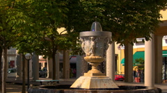 Bad EMS, Germany, the fountain in the city Stock Footage