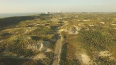 Aerial over dunes ,Zandvoort,Netherlands Stock Footage