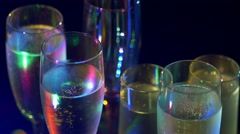 Champagne glasses at party Stock Footage