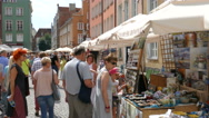 Visitors in Gdansk during St. Domic Fair. One of the largest fair in europe Stock Footage
