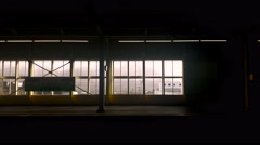 Window view japan train in Japan leaving from staion Stock Footage