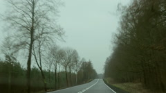 Car driving on the rural road. Front view (windshield), POV. Stock Footage