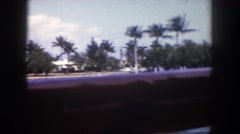 1960: homes and palm trees hug the coastline of large blue body of water. Stock Footage