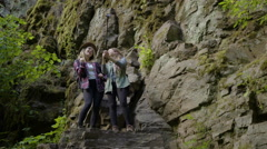 Friends Take Selfies With A Gopro Stick On A Cliff Stock Footage
