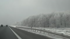 Driving a car on a highway. Fresh snow on the trees. Stock Footage
