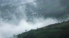 The high valley among the mountain and misty enviroment Stock Footage