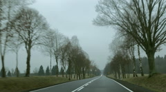 Car driving on the rural road. Poland. Front view (windshield) POV. Stock Footage