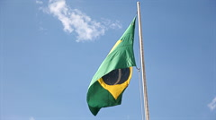The Flag Of Brazil Waving On The Wind Stock Footage