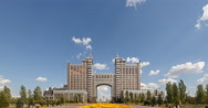 KazMunayGas - Head office. View of the Bayterek in the arch. Time Lapse Stock Footage